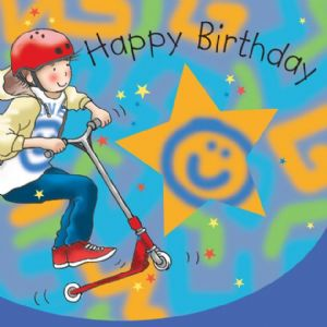 TW653 - Boys Birthday Card Scooter